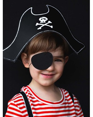 Pirátský klobouk s papírovou páskou přes oko pro chlapce