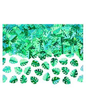Confeti para mesa hojas tropicales metalizadas