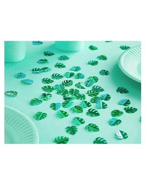 Confettis de table feuilles tropicales métallisées