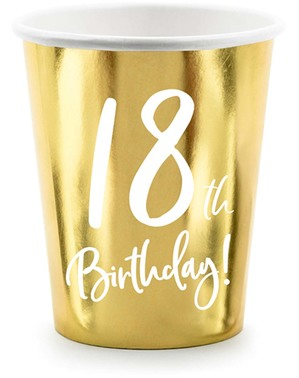 6 bicchieri dorati 18° compleanno