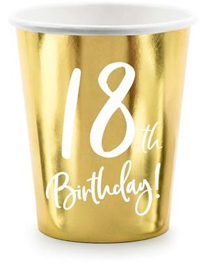 6 Guld 18-års Fødselsdagskopper