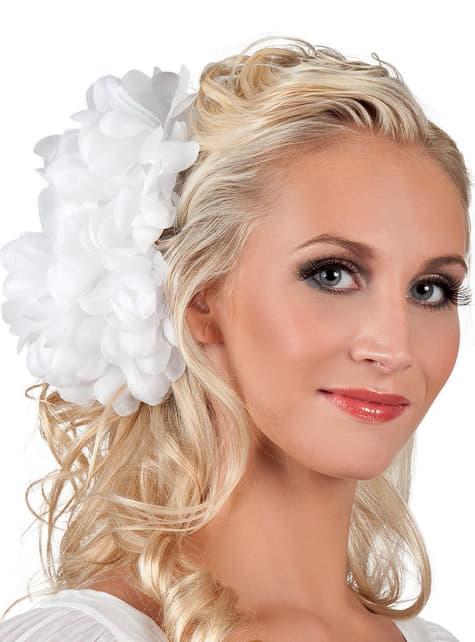 Flor de joven elegante blanca para mujer