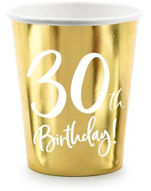 6 glas guldfärgade 30 födelsedag