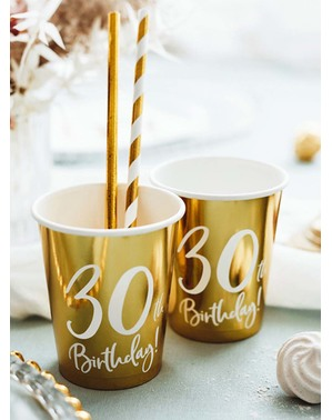 6 Gold 30th Birthday Cups