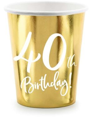 6 glas guldfärgade 40 födelsedag