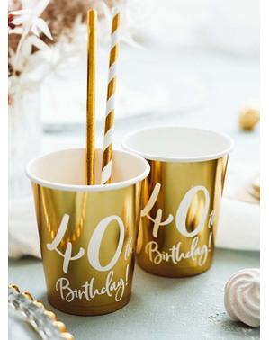 6 Kultaista 40. Syntymäpäiväkuppia