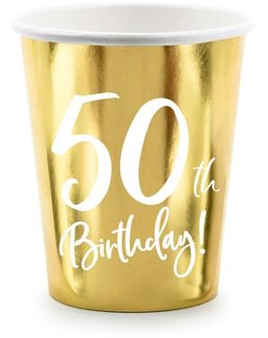 6 copos dourados 50 aniversário