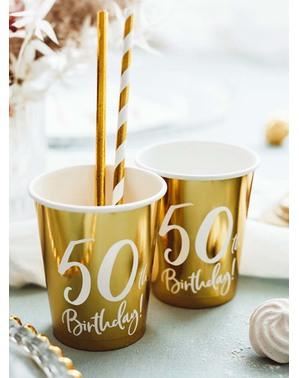 6 glas guldfärgade 50 födelsedag