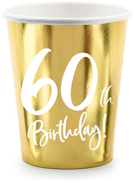 6 vasos dorados 60 cumpleaños
