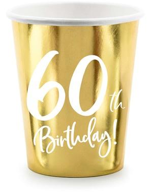 6 Pappbecher 60. Geburtstag