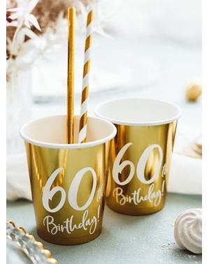 6 copos dourados 60 aniversário