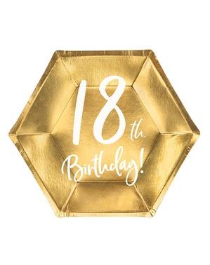 6 Guld 18-års Fødselsdagstallerkner (20 cm)