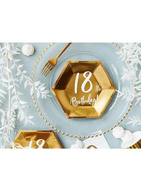 6 platos dorados 18 cumpleaños (20 cm)