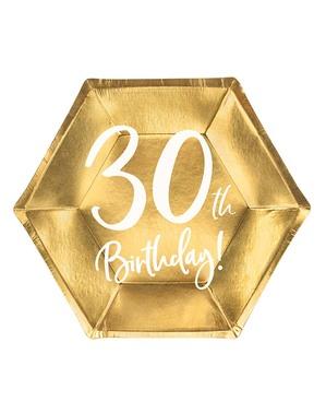 6 Guld 30-års Fødselsdagstallerkner (20 cm)