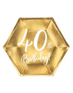 6 tallrikar guldfärgade 40 födelsedag (20 cm)