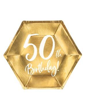 6 Kultaista 50. Syntymäpäivälautasta (20 cm)