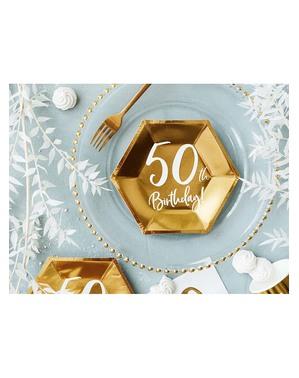 6 Guld 50-års Fødselsdagstallerkner (20 cm)