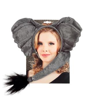 Set Diadem och svans Elefant för henne
