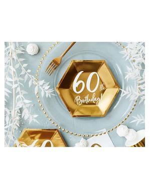 6 Kultaista 60. Syntymäpäivälautasta (20 cm)