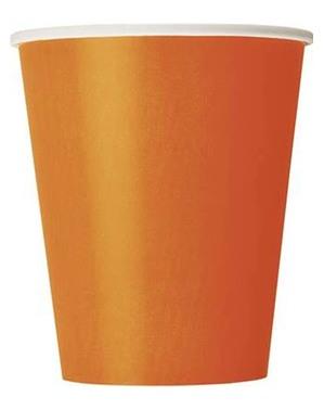 8 gobelets orange - Gamme couleur unie
