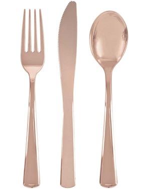 Zestaw Plastikowe Sztućce Rose Gold 18szt. - Linia Kolorów Podstawowych