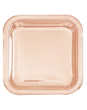 8 Małe Talerze Rose Gold (18cm) - Linia Kolorów Podstawowych