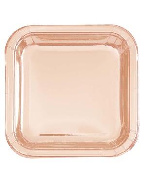 8 pratos ouro rosa pequenos (18 cm) - Linha Cores Básicas