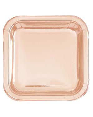 8 farfurii de aur roz (23 cm) - Gama Basic Colors