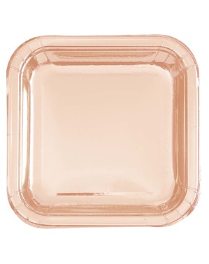 8 růžovozlatých talířů (23 cm) - Línea Colores Básicos