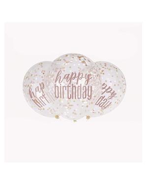 6 globos con confeti oro rosa