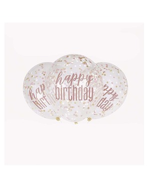 """6 """"Happy Birthday"""" Ruusukultaiset Konfetti-Ilmapallot"""