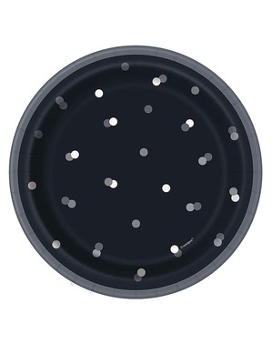 "8 Small Black ""Happy Birthday"" Plates (18 cm)- Black & Silver Glitz"