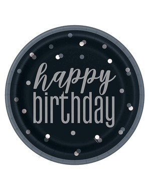 "8 Black ""Happy Birthday"" Plates (23 cm)- Black & Silver Glitz"