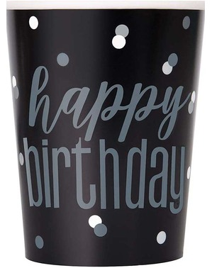 "8 Black ""Happy Birthday"" Cups- Black & Silver Glitz"