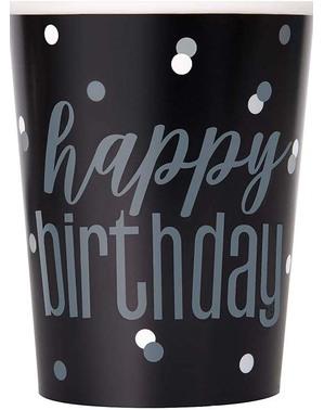 """8 Svarte """"Happy Birthday"""" - Black & Silver Glitz"""