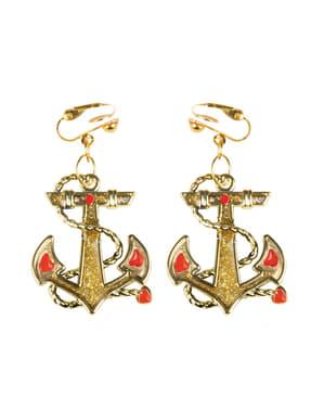 Brincos de âncora marinheira para mulher