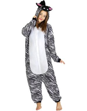 Onesie zebra kostuum voor volwassenen