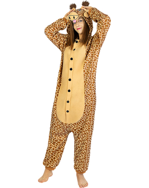 Fato de girafa onesie para adulto
