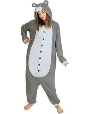 Fato de hipopótamo onesie para adulto
