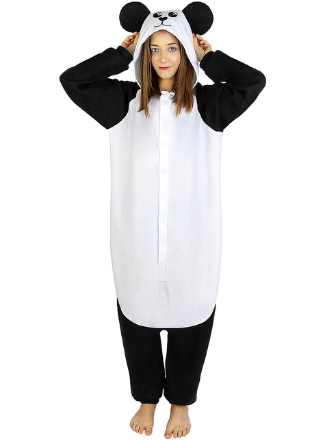 Disfraz de oso panda onesie para adulto