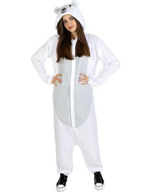 Costume da orso polare onesie per adulto