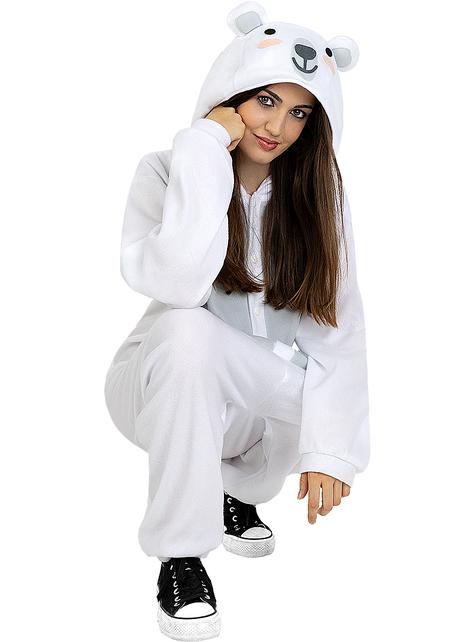 Disfraz de oso polar onesie para adulto