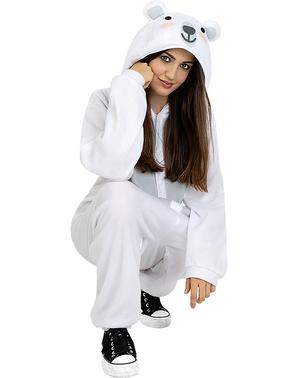 Onesie ijsbeer kostuum voor volwassenen