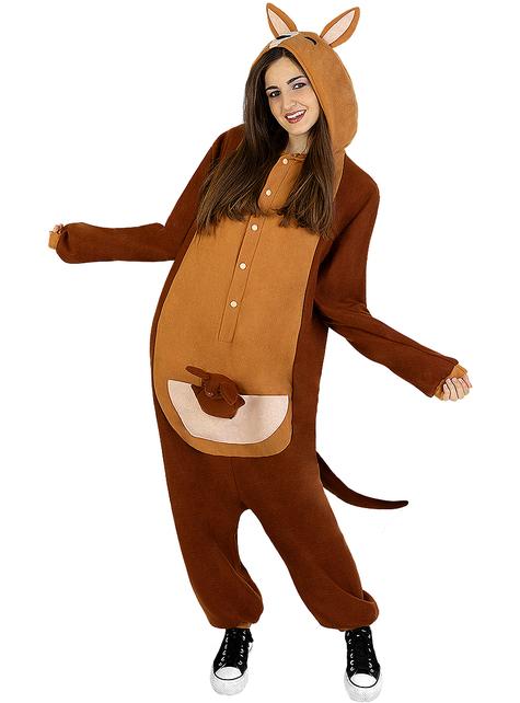 Onesie kangaroe kostuum voor volwassenen