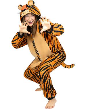 Maskeraddräkt med Tiger onesie för vuxen