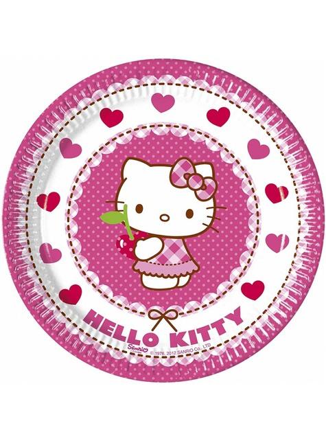 8 Hello Kitty Plates (20cm) - Hello Kitty Hearts