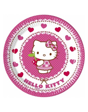 8 Hello Kitty Plates (20cm) - Hello Kitty Hearts