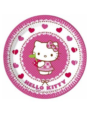 8 Hello Kitty Tallerkener (20cm) - Hello Kitty Hearts
