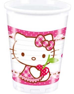 כוסות 8 הלו קיטי - לבבות הלו קיטי