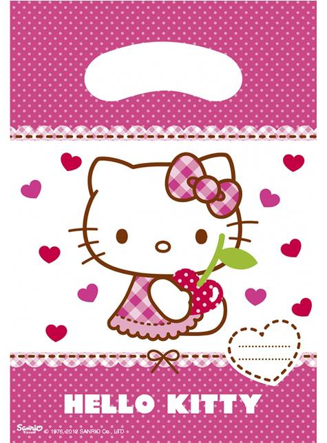 6 Hello Kitty Party Bags - Hello Kitty Hearts